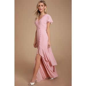 NWT Lulu's Pour The Champagne Backless Maxi Dress